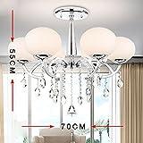 Lonfenner Moderne minimalistische führte Kristalllicht Runde Kristall Kronleuchter kreative Mode Kristall Lampe Schlafzimmer/Wohnzimmer Decke Lampe Kristall Kristallleuchter (90cm) , 6 head