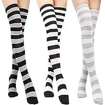 nicebuty 3 pcs calcetines altas rodilla de rayas negra y blanca medias de compresión mujer Bas