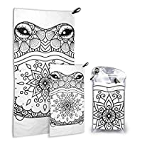 JOCHUAN Hand Drawn Zentangle Frog 2 Pack Microfiber Beach Towel Boys Surf Beach Towel Set Fast Drying Best For Gym Travel Backpacking Yoga Fitnes
