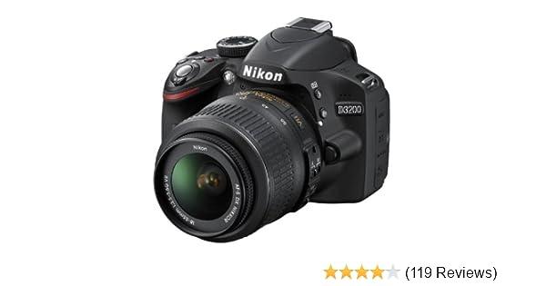 Nikon D3200 24 2MP Digital SLR Camera (Black) with AF-S 18-55mm VR Kit  Lens, 8GB Card, Camera Bag