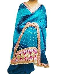 Art Silk Suit With Gota Patti Daaman Border Bandhini Suit, Art Silk Bandhej Jaipuri Rajasthani With Gota Patti...
