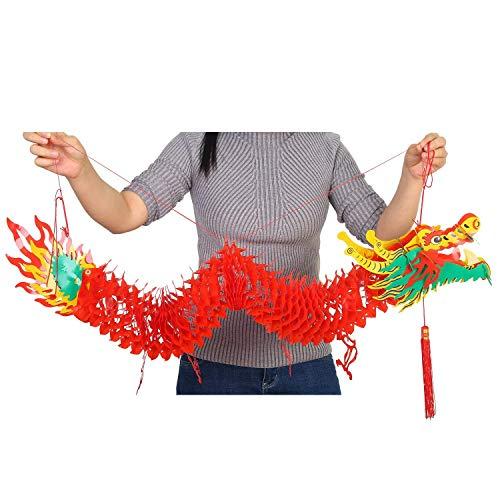LEEQ 3D Guirnalda de dragón Chino de Año, 4.92 pies