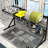 Scolapiatti, mensole da cucina/forno a microonde/forno/scaffale multistrato/scolapiatti in acciaio inox nero (dimensioni: 84 cm)