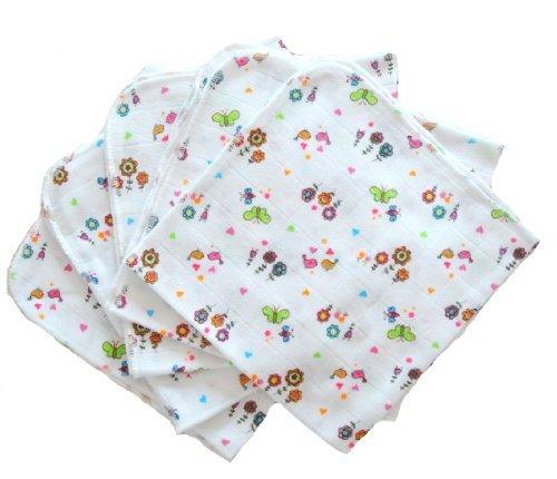 BabyMajaWelt - Pannolini lavabili premium, in garza, 40 x 40 cm, 5 pz, motivo floreale - Floreale Tessuto Di Spugna