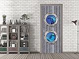 GRAZDesign 791499_92x213 Tür-Bild Holz mit Bullaugen | Aufkleber fürs Wohnzimmer/Bad | Tür-Tapete selbstklebend (92x213cm//Cuttermesser)