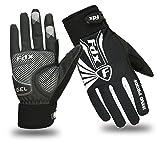 FDX Fahrrad-Handschuhe, ideal für den Winter, bei kaltem Wetter, winddicht, Touch Screen-Fingerhandschuhe L schwarz / weiß