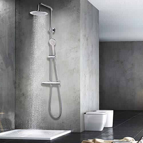 Elbe Duschsystem mit Thermostat, Regendusche, Handbrause, Duschsäule mit runder Überkopfbrause, Duschset Edelstahl und PVC verchromt, für Wellness Luxus und Duschvergnügen im eigenen Bad
