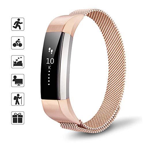 TOMALL Ersatz-Armband für Fitbit Alta und Alta HR, aus Edelstahl und Metall, Rose Gold, Größe S