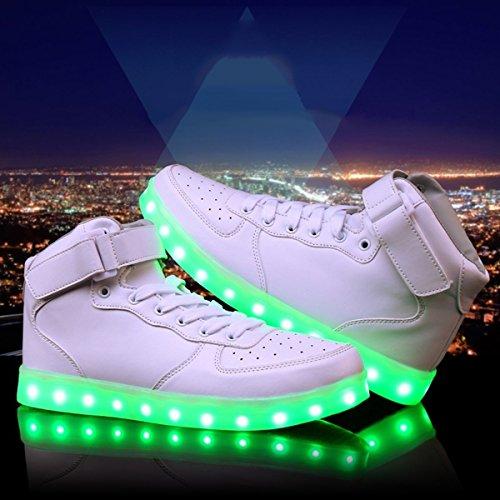 DoGeek LED Schuhe Kinder Damen 7 Farbe USB Aufladen Leuchtend Sportschuhe Led Kinder Farbwechsel Sneaker Turnschuhe für Herren Damen White