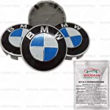 Set di 4 Tappi Coprimozzo compatibili BMW - Blu e Bianco, Classico, 68 mm Diametro - da Wickman Compatible - Gestito e Spedito dall'Italia