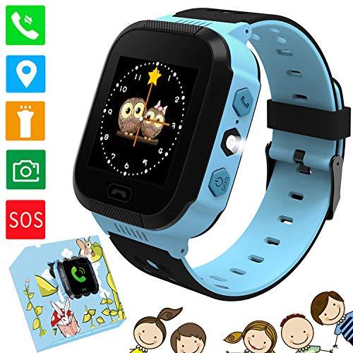 """Kids Smart Watches Phone - 1.4""""Montre à écran Tactile pour Enfants Phone Watch avec Appel SOS Voice Chat Camera Flash Alarm Jeux d'apprentissage Cadeaux Tchristmas pour garçons Filles 4-12 Ans (Bleu)"""
