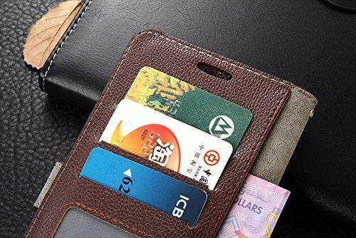 Für Xiaomi 5s Plus Case Cover Horizontale Flip Stand Weiche echtes Leder Litchi Texture Case mit Halter & Card Cash Slots & Foto Frame ( Color : Brown ) Pink
