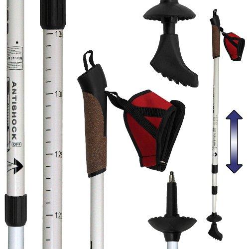 Denqbar - Bastoncini Da Nordic Walking, Con Sistema Di Ammortizzazione Anti-Shock, 67 - 138 Cm (Diamante Bianco)