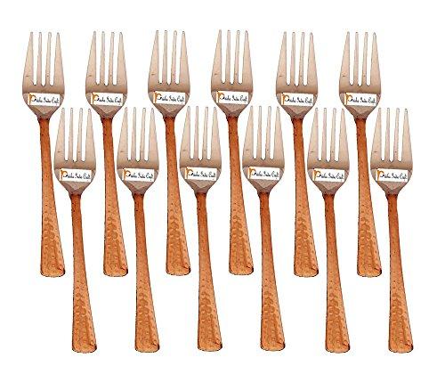 Set di 12 Prisha India Craft ® di alta qualità in acciaio fatti a mano forcella rame ,Lunghezza 7,00 pollici- regalo di Natale