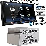 Skoda Octavia 2 1Z - Kenwood DMX100BT - 2DIN Bluetooth   USB   MP3   7' TFT Autoradio - Einbauset
