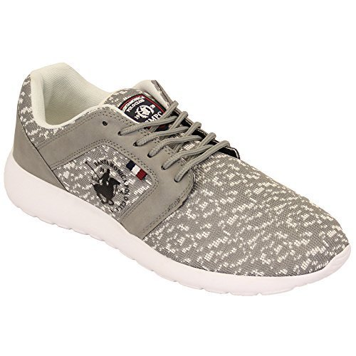 Baskets Hommes Santa Monica Polo Club Chaussures Escarpins Talon Haut À Lacets Baskets Course Gym Gris - DOMINION