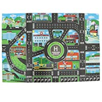 SM SunniMix 83 X 58 cm City Traffic Play Mat with Tracks Roads for Car Trucks Train Toy