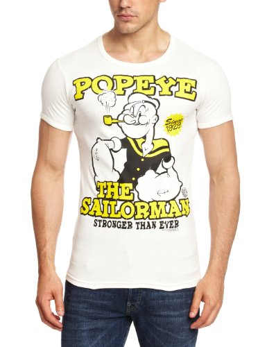 Logoshirt Unisex Hemd T-Shirt Slim Fit Popeye- The Sailorman, Gr. Medium (Herstellergröße: Medium), Elfenbein