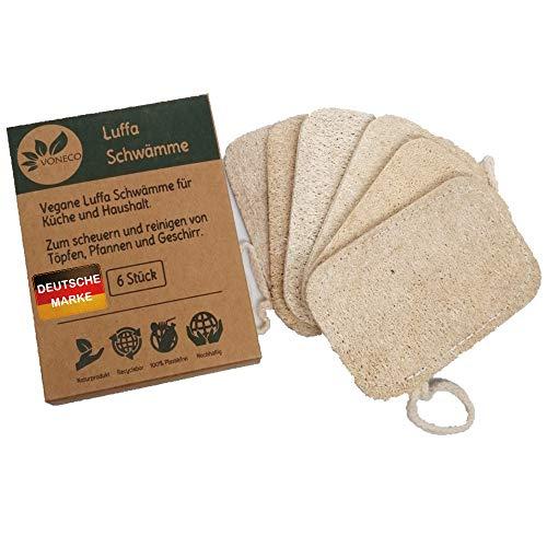 6er Set Luffa Schwämme, Spülschwamm waschbar, Loofah Scheuerschwamm, Biologisch abbaubar, die ökologische Alternative für die plastikfreie Küche