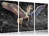 Weißer Pegasus mit Engelsflügel B&W Detail 3-Teiler Leinwandbild 120x80 Bild auf Leinwand, XXL riesige Bilder fertig gerahmt mit Keilrahmen, Kunstdruck auf Wandbild mit Rahmen, gänstiger als Gemälde oder Ölbild, kein Poster oder Plakat
