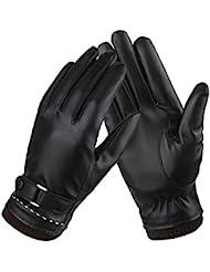 Guantes de cuero con forro polar de mujer para usar con pantallas táctiles, conducir o abrigarse en invierno. negro negro Medium
