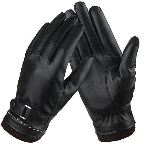 Bequemer Laden Damen-Touchscreen-Texting Fahren Winter Warm Leder Handschuhe, Fleece Futter -