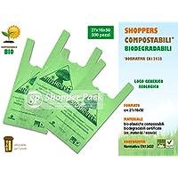 SCONTO 20% Shopper Biodegradabili Compostabili cm 27+16x50 - Scatola da 500 sacchetti, a Norma EN13432