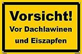 Kleberio® Warn Schild 45 x 30 cm - Vorsicht! Vor Dachlawinen und Eiszapfen - Baustellenschild mit 4 Bohrlöchern (4mm) in den Ecken stabile Aluminiumverbundplatte