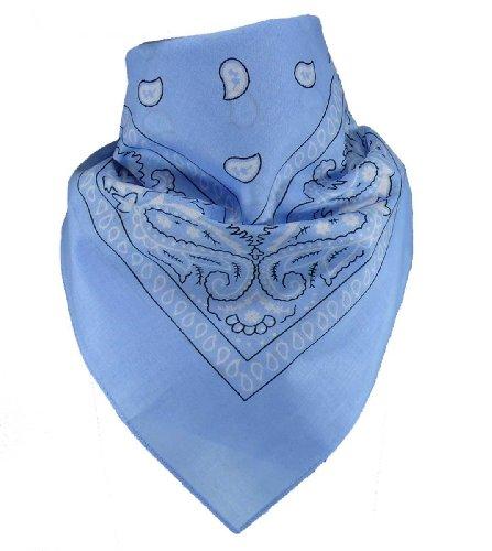 Harrys-Collection Bandana Bindetuch 100% Baumwolle (1 er 6 er oder 12 er Pack), Farbe:hellblau