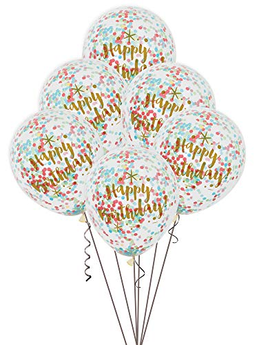 Unique Party Paquete de 6 Globos Confetti de cumpleaños, Color Oro Brillante, 30 cm (58225)