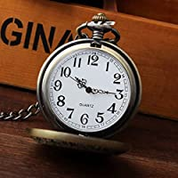 So vedere Orologio Uomo Drago e Phoenix quarzo orologio da tasca catena + ciondolo portachiavi in regalo Box - Drago Quarzo Orologio