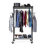 Mobile Garderobe, bronzefarben, mit großer Aufnahmekapazität, stabilen Rollen zum leichten Verschieben und verstellbaren Einlagen für ultimative Flexibilität