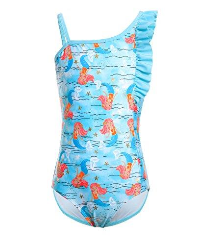 iDrawl Blau Meerjungfrau Badeanzug One Piece Bademode Mädchen Sommer Beachwear UPF 50+,104-116