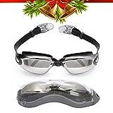 Gafas de Natación Profesional por Bezzee Pro - Lentes Espejo - Anti Niebla - Hermético - Ajustable - 100% Garantía De Devolución De Dinero - Gafas de Natación Para Adultos Con Visión De 180 Grados - L