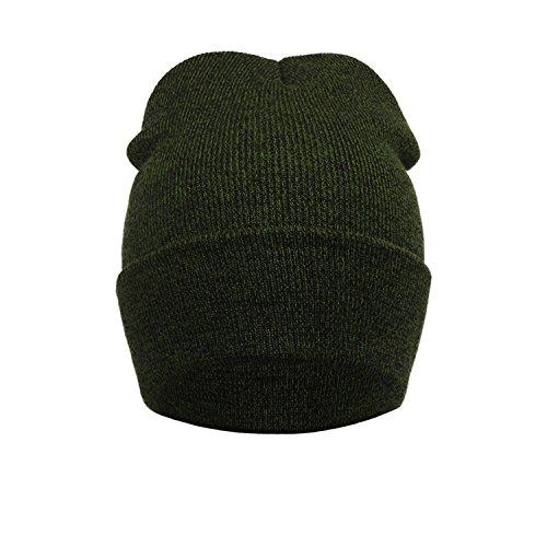 ZARU Hombre y mujer invierno cálido punto de ganchillo Sombrero Gorro trenzado del tocado (Verde)