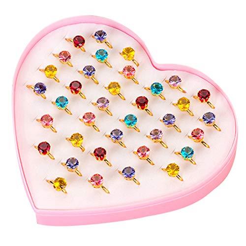 Joyibay 36 Stück Kinder Ring Süß Diamant Dekor Fingerring Schmuck Ring Party Ring Spielzeug