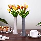 T4U Unglasierte Keramik Blumenvase Deko Vasen für Wohnung Dekoration, Höhe 19.7cm Grau&Weiß