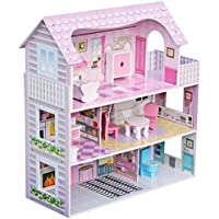 Sohler By Eurotrade W 2002567 Luxury 3 Storey Miniature Wooden Dolls House with Furniture Toy Play Set