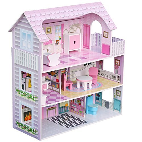 Luxury 3 Storey Miniature Wooden Dolls House With Furniture Toy Play Set Xmas Gift W06A139