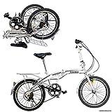 "Ridgeyard 20"" 6 Speed Silver Folding Foldable Adjustable City Bike"