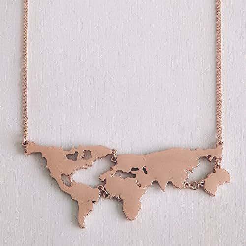 Collana Mappamondo - Per veri viaggiatori - Color Oro, Argento, Oro rosa, Nero - Idea regalo per viaggi, Atlante, Mappa, Planisfero, Pianeta Terra