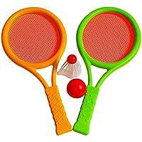 VORCOOL Conjunto de raquetas de bádminton para niños, raquetas de tenis de plástico Conjunto de bádminton de bolas para niños Conjunto de bádminton para niños con raquetas de 2 bolas para juego de deportes al aire libre en interiores