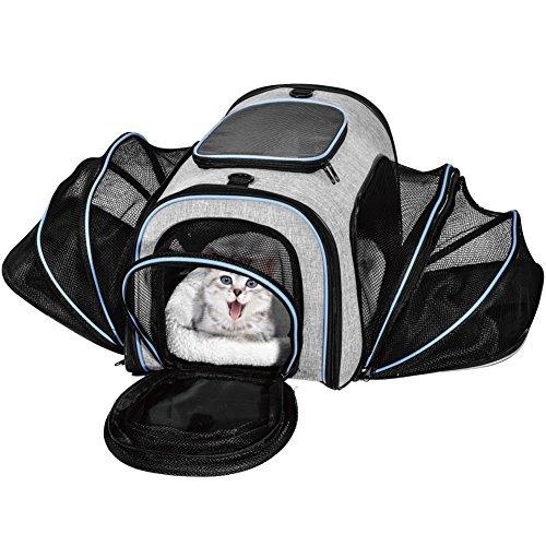 Transporttasche für Haustiere Airline Approved erweiterbar Weiche Seiten 4Seiten Reisetasche für Hunde Katzen Kätzchen Welpen & Kleine und mittelgroße Tiere Trägern (Airline)
