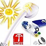Sonnen-Energie-Duschkopf SOLEIL mit druckerhöhendem Duschstrahl, wasser- und energiesparend, kalkfrei, 3 Regler für 4 Durchflussmengen, Aufsatz für weichen Regenstrahl; Made in Swiss direkt vom Hersteller