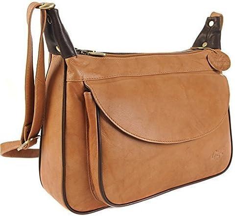 GIGI Othello Leather Shoulder Crossbody Handbag Bag 22-17 Various Colourways (Honey / Dark Brown)