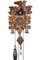 Idea Regalo - Eble, orologio a cucù, in vero legno, alimentato a batterie, a quarzo, suona il richiamo del cuculo, a cinque foglie, 22 cm