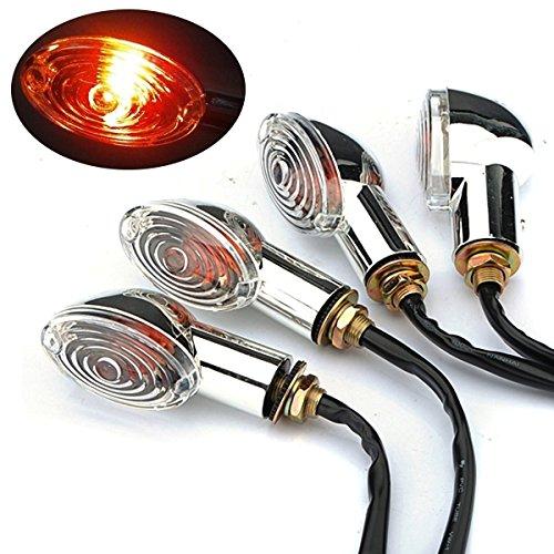 Preisvergleich Produktbild katur 4x Motorrad Blinker Kontrollleuchte gelb Leuchtmittel klar Cat Eye 12V