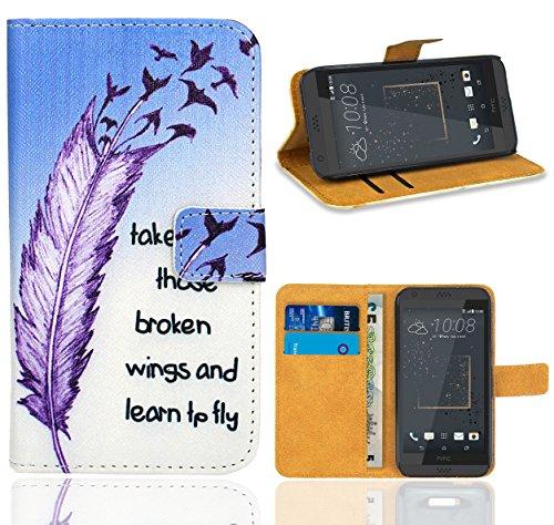 FoneExpert® HTC Desire 530 Handy Tasche, Wallet Case Flip Cover Hüllen Etui Ledertasche Lederhülle Premium Schutzhülle für HTC Desire 530