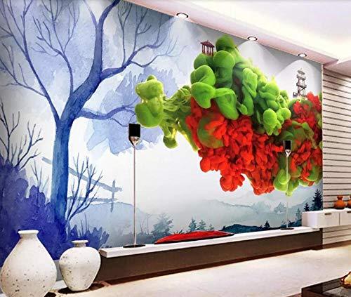 Farbige Aquarell (Fototapete 3D Effekt Tapete Farbiger Rauch Des Großen Baums Des Kreativen Aquarells Vliestapete 3D Tapeten Wanddeko Wandbilder Wohnzimmer,250cmX175cm)