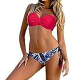 OverDose Damen Bikini Sets Frauen Bademode Gepolsterter Padded Push-up-BH Bikini Set Badeanzug Beachwear(Hot Pink,XL)
